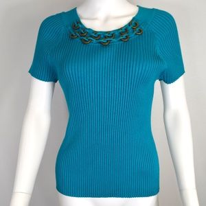 R-Q-T Ribbed Embellished Top